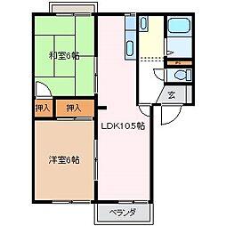 フレグランスアルピナB[2階]の間取り