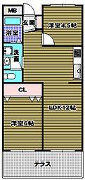 エステートワン[1階]の間取り