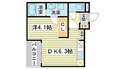 兵庫県姫路市西二階町の賃貸アパートの間取り