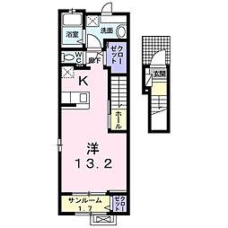 プランドールII 2階1Kの間取り