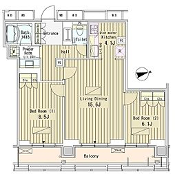 JR山手線 新橋駅 徒歩10分の賃貸マンション 20階2LDKの間取り