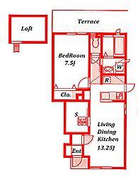 パイングローフラット[1階]の間取り