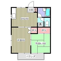 千葉県鎌ケ谷市東鎌ケ谷2丁目の賃貸アパートの間取り