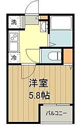 グランクオール東小金井 1階1Kの間取り