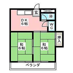 シャンブル勝川[1階]の間取り