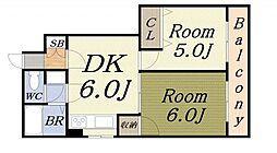 ハイネス岡崎II 4階2DKの間取り