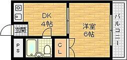 城北船江マンション 3階1DKの間取り