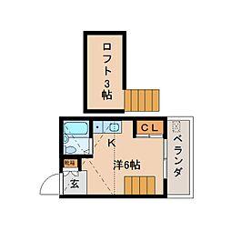 奈良県香芝市逢坂5丁目の賃貸アパートの間取り