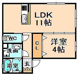 兵庫県伊丹市南野1丁目の賃貸アパートの間取り