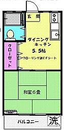 フラワーマンション[303号室]の間取り