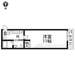 京阪本線 七条駅 徒歩5分の賃貸マンション 3階1Kの間取り