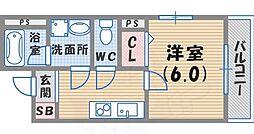 阪神本線 鳴尾・武庫川女子大前駅 徒歩8分の賃貸マンション 1階1Kの間取り