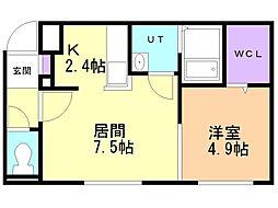 メゾン・ド・ソレイユB棟 3階1LDKの間取り