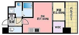 阪神本線 鳴尾・武庫川女子大前駅 徒歩6分の賃貸マンション 4階1DKの間取り