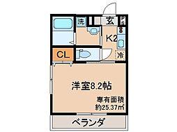 京都府京都市伏見区桃山町松平筑前の賃貸マンションの間取り