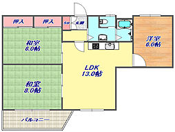 レック六甲マンション[3F号室]の間取り