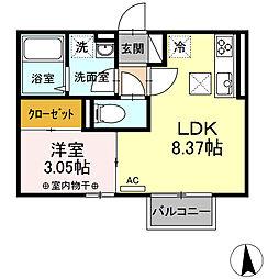 D-room八幡 2階1LDKの間取り