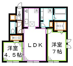 JR中央本線 三鷹駅 徒歩11分の賃貸アパート 1階2LDKの間取り