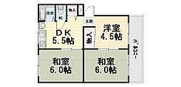 大阪府堺市西区浜寺諏訪森町中3丁の賃貸マンションの間取り