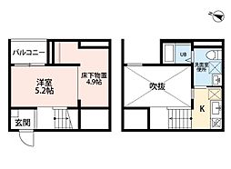 愛知県名古屋市南区港東通2丁目の賃貸アパートの間取り