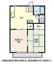 森田ハイツ1 2階2DKの間取り