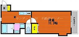 JR山陽本線 岡山駅 徒歩20分の賃貸アパート 3階1Kの間取り