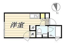 PASEO新宿3丁目II 2階ワンルームの間取り
