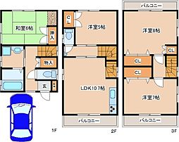 [一戸建] 兵庫県神戸市灘区天城通1丁目 の賃貸【/】の間取り