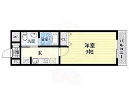 リアライズ住之江公園 9階1Kの間取り