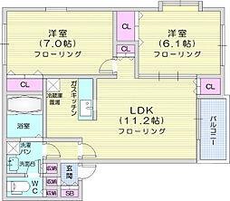 プレミール1 2階2LDKの間取り