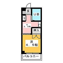 ザイテツマンション[3階]の間取り