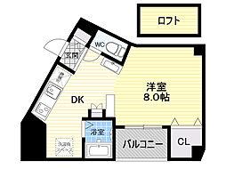 阪神なんば線 九条駅 徒歩5分の賃貸マンション 8階1DKの間取り