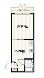 JR山陽本線 五日市駅 徒歩9分の賃貸マンション 2階1DKの間取り