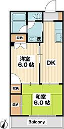 イーストK 3階2DKの間取り
