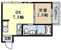 nico西大路(ニコ西大路) 2階1DKの間取り