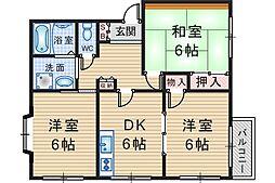エクセレント上野[202号室]の間取り