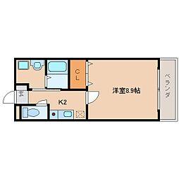 近鉄奈良線 東生駒駅 徒歩8分の賃貸マンション 4階1Kの間取り