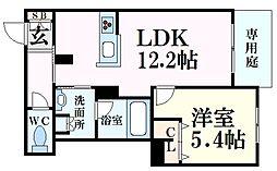 シャーメゾンMV-VII 1階1LDKの間取り