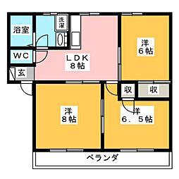 ラ・フェーリアI[2階]の間取り