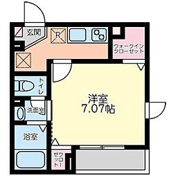 唐木田ハウス 2階1Kの間取り