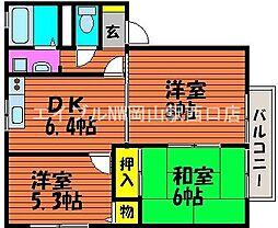 岡山県岡山市南区下中野丁目なしの賃貸アパートの間取り
