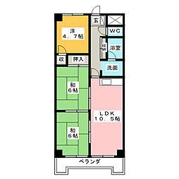 ベルシャイン竹原A[2階]の間取り
