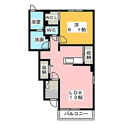愛知県北名古屋市宇福寺神明の賃貸アパートの間取り