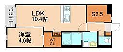 JR香椎線 酒殿駅 徒歩34分の賃貸マンション 1階1SLDKの間取り