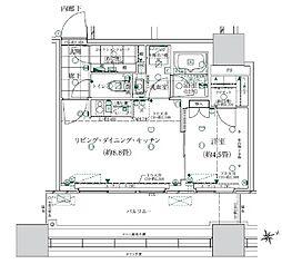 都営浅草線 大門駅 徒歩14分の賃貸マンション 5階1LDKの間取り