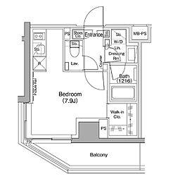 ザ・パークハビオ駒込 8階ワンルームの間取り
