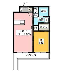 静岡県浜松市中区下池川町の賃貸マンションの間取り