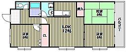 ヒガシオマンション[3階]の間取り