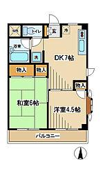 東京都府中市天神町2丁目の賃貸マンションの間取り
