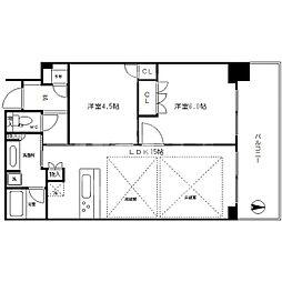 大阪ひびきの街ザ・サンクタスタワー 19階1SLDKの間取り